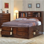 Hillary Storage Bookcase Bed in Warm Brown Finish by Coaster - 200609Q