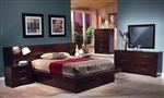 Jessica Platform Bed 9 Piece Bedroom Set with Back Panels in Cappuccino Finish by Coaster - 200711BP