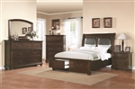 Hannah Storage Upholstered Bed 6 Piece Bedroom Set in Brown Cherry Finish by Coaster - 200830