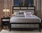 Barzini Metallic Upholstered Bed in Black Finish by Coaster - 200891Q