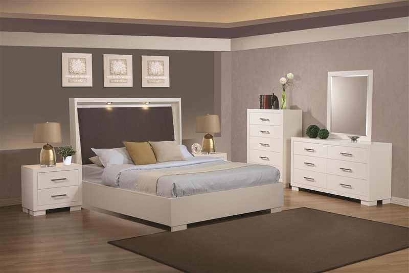 Jessica Built In Touch Lighting Bed 6 Piece Bedroom Set In White Finish By  Coaster   200920