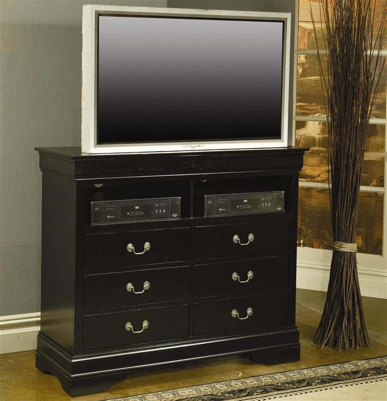 Louis Philippe Media Chest in Black Finish by Coaster 201076