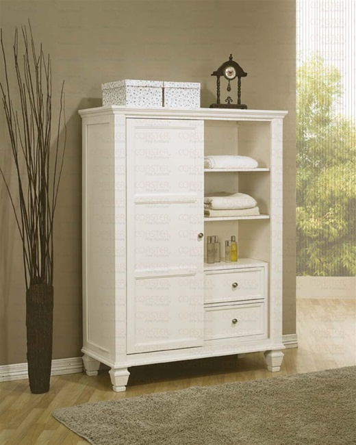 Sandy Beach Bedroom Set White Part - 16: 6 Piece Sandy Beach Bedroom Set With Poster Bed In White Finish By Coaster  - 201300