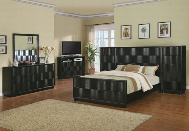 7 Piece Wave Bedroom Set with High Boy Chest in Deep Glossy Chocolate Brown  Finish by Coaster - 201361