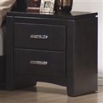 Dylan Nightstand in Black Finish with Black Vinyl Upholstery by Coaster - 201402