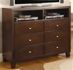Lorretta Media Chest in Deep Brown Finish by Coaster - 201516