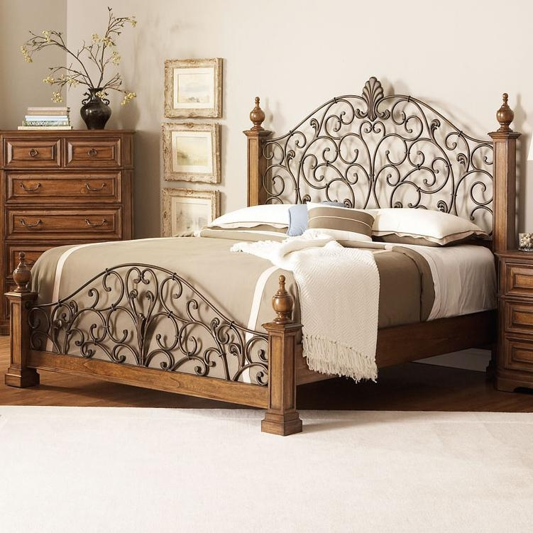 6 Piece Edgewood Poster Bed Bedroom Set in Distressed Warm Brown ...