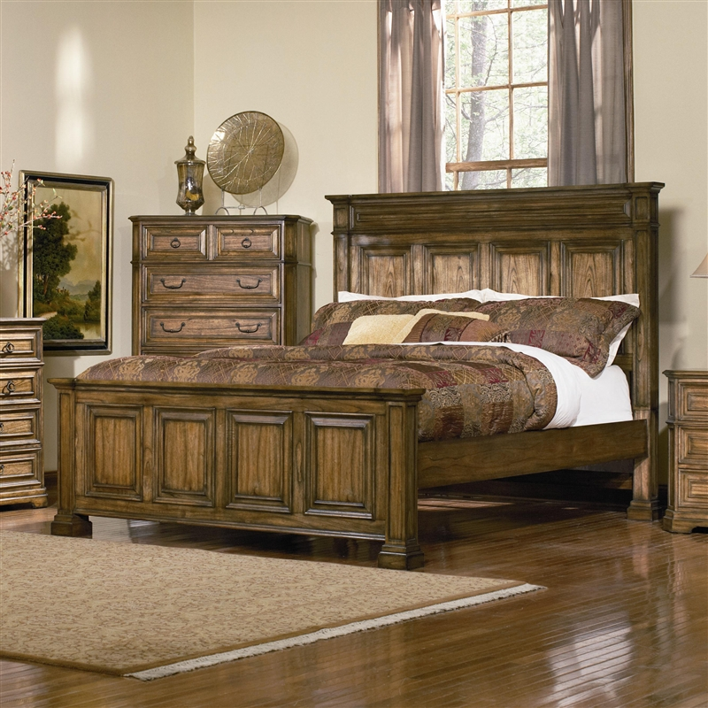 Distressed Bedroom Sets Bedroom Cupboards With Mirror Sliding Doors Bedroom Colour As Per Vastu Shabby Chic Bedroom Sets: Edgewood Panel Bed In Distressed Warm Brown Oak Finish By