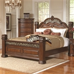 DuBarry Grand Headboard & Footboard Bed with Pillar Posts in Rich Brown Finish by Coaster - 201821Q