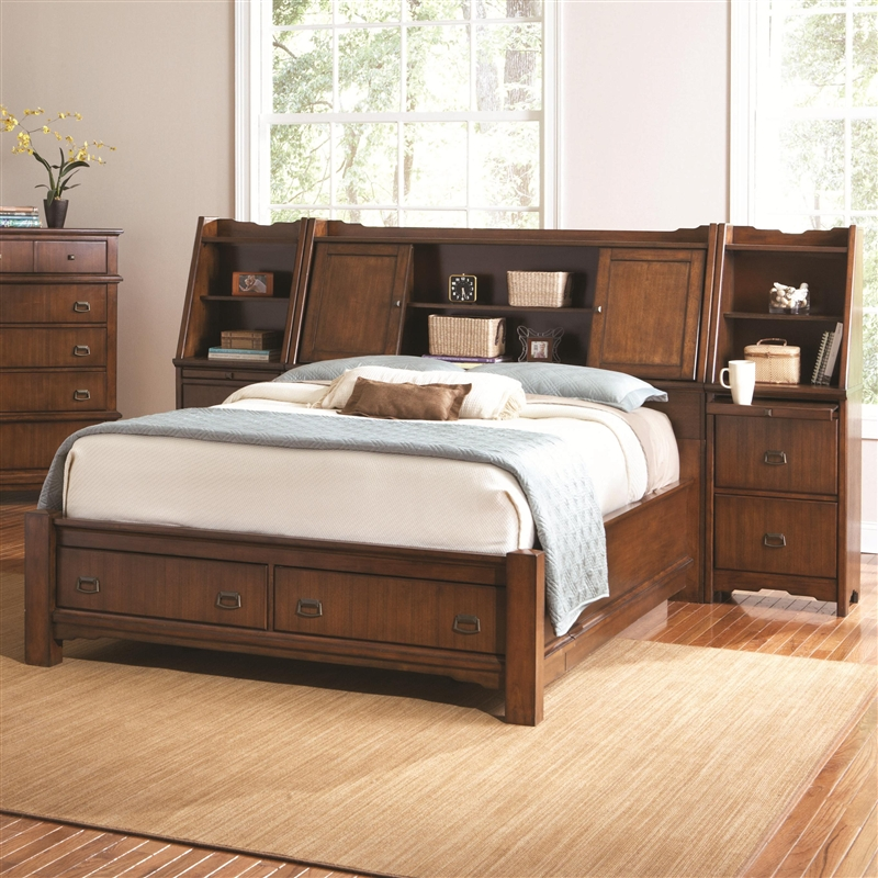 Grendel Wall Bed 6 Piece Bedroom Set In Medium Oak Finish