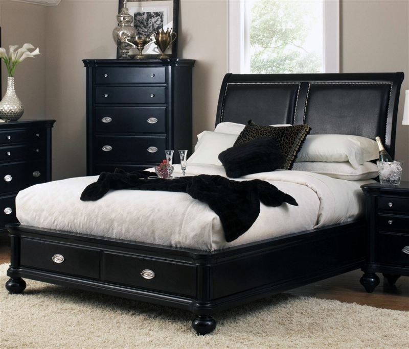 Valerie Storage Bed 6 Piece Bedroom Set In Black Finish By Coaster 201861