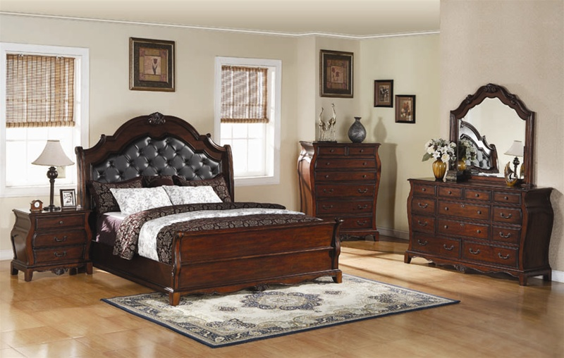 Priscilla 6 Piece Bedroom Set In Warm Brown Cherry Finish By Coaster 201911