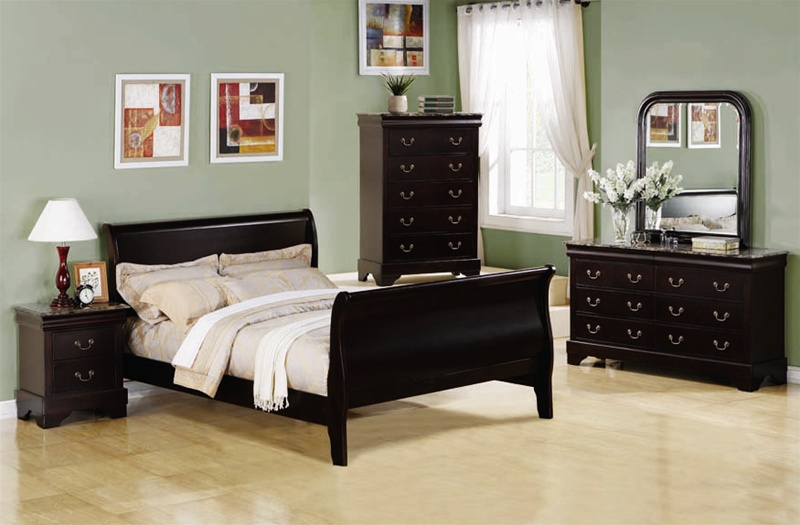 Louis Philippe 6 Piece Bedroom Set In Cappuccino Finish Marble Like Tops By C