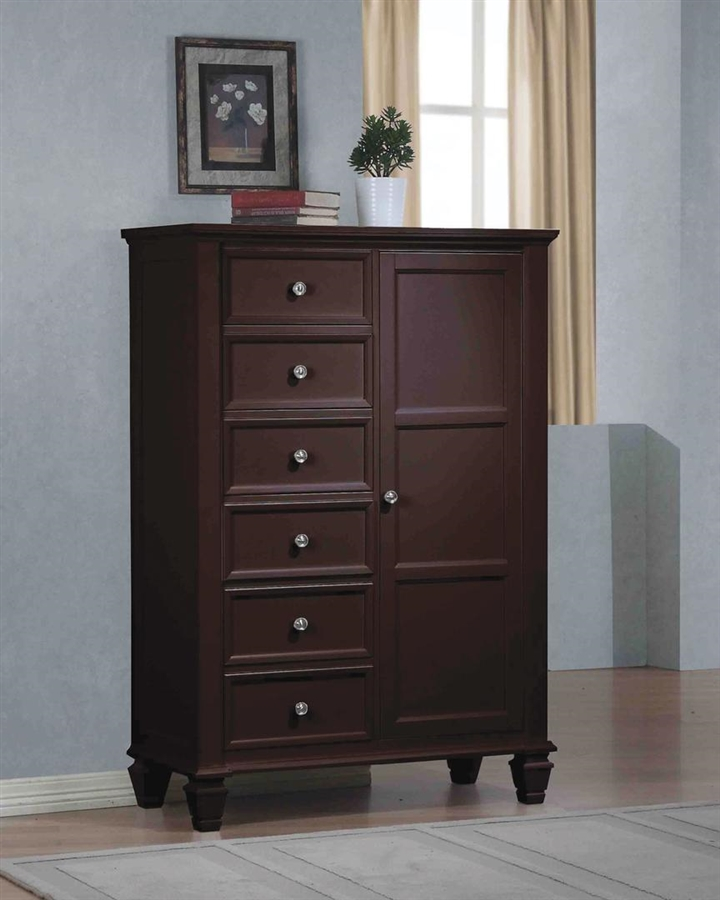 Sandy Beach 8 Drawer Chest With Sliding Door In Cappuccino