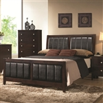 Carlton Upholstered Bed in Cappuccino Finish by Coaster - 202091Q
