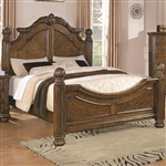 Bartole Traditional Bed with Finials in Light Oak Finish by Coaster - 202221Q
