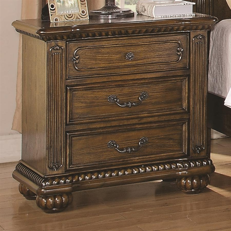 Bartole traditional three drawer night stand in light oak for Night stand cost