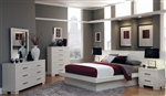 Jessica Platform Bed 9 Piece Bedroom Set with Back Panels in White Finish by Coaster - 202990BP
