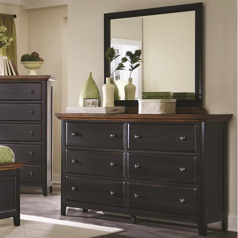 Mabel 6 Piece Bedroom Set In Distressed Black And Oak Two