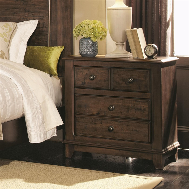 Laughton 6 Piece Bedroom Set In Rustic Brown Finish By
