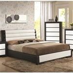 Kimball Black and White Upholstered Bed by Coaster - 203331Q