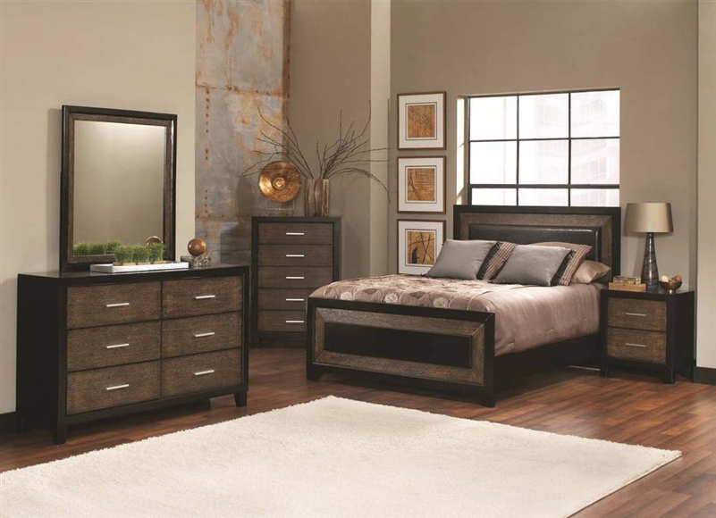 Landon 6 Piece Bedroom Set in Two Tone Brown and Black Finish by ...