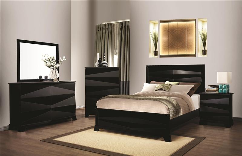 6 piece bedroom set.  Karolina 6 Piece Bedroom Set in Black Finish by Coaster 203671