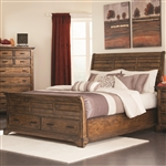 Elk Grove Sleigh Storage Bed in Vintage Bourbon Finish by Coaster - 203891Q