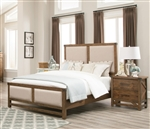 Bridgeport Upholstered Bed in Weathered Acacia Finish by Coaster - 204171Q