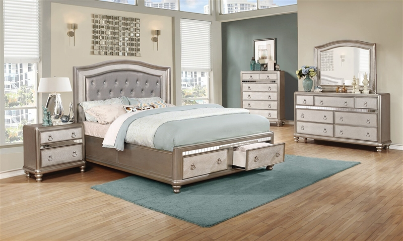 Bling Game Upholstered Storage Bed 6 Piece Bedroom Set In