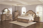 Ilana Upholstered Storage Bed 6 Piece Bedroom Set in Antique Linen Finish by Coaster - 205070