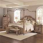 Ilana Poster Bed in Antique Linen Finish by Coaster - 205071Q