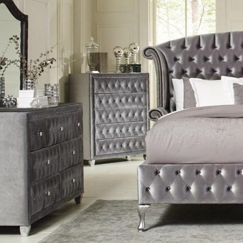 Deanna Platform Bed 6 Piece Bedroom Set In Grey Velvet And