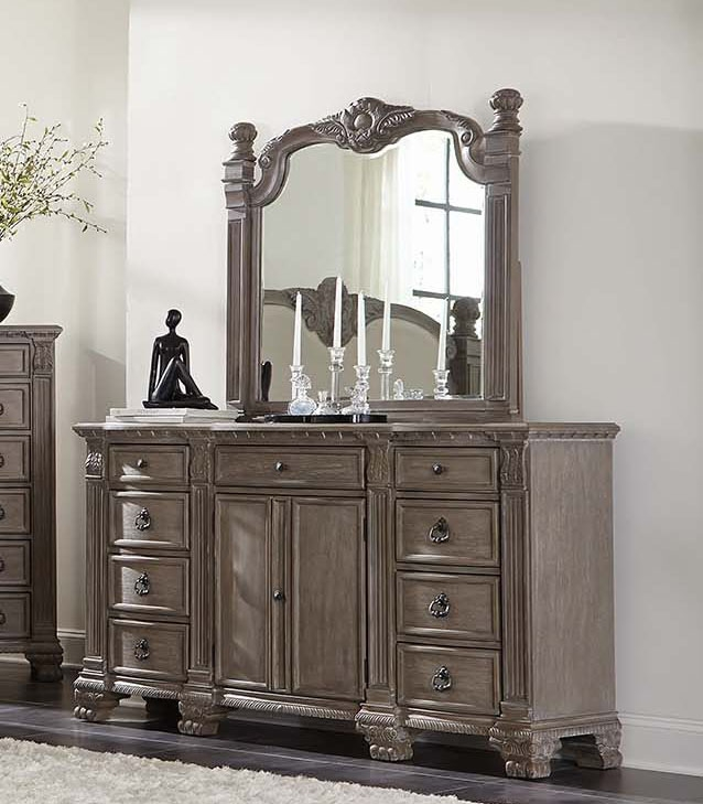 Jenna Poster Bed 6 Piece Bedroom Set in Vintage Grey Finish by ...