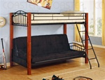 Twin/Futon Wood and Metal Convertible Bunk Bed by Coaster - 2249