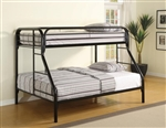 Metal Twin/Full Bunk Bed in Black Finish by Coaster - 2258K