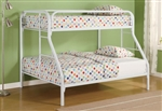 Metal Twin/Full Bunk Bed in White Finish by Coaster - 2258W
