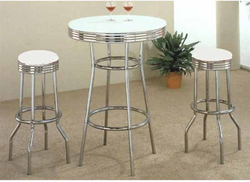 50's Soda Fountain in Retro Chrome 3 Piece Counter Height Bar Table Set  with White Stool Top by Coaster - 2300W