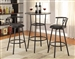 Black Metal Finish Round Top 3 Piece Counter Height Bar Table Set by Coaster - 2383