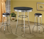 50's Soda Fountain in Retro Chrome 3 Piece Counter Height Bar Table Set by Coaster - 2405