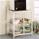 Kitchen Cart White and Natural Finish by Coaster - 2506