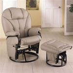 Bone Leatherette Glider with Matching Ottoman by Coaster - 2645