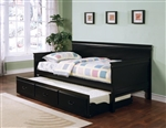 Casey Trundle Daybed in Black Finish by Coaster - 300036BLK