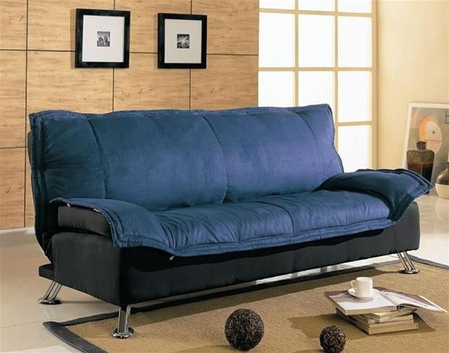 Sofa bed in dark blue and black cover combination by for Sofa bett kombination