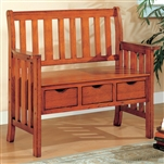 Storage Bench in Brown Cherry Finish by Coaster - 300075