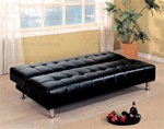 Black Vinyl Sofa Bed by Coaster - 300118