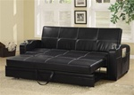 Black Vinyl Sofa Bed by Coaster - 300132