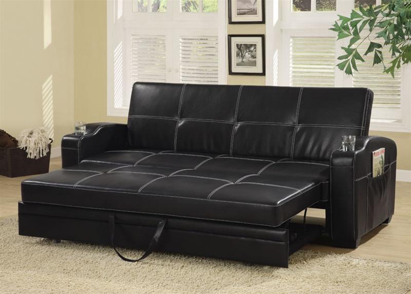 Black Vinyl Sofa Bed White Stitching