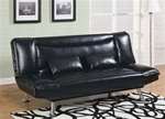 Black Vinyl Sofa Bed by Coaster - 300144