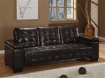 Sofa Bed in Dark Brown Vinyl Upholstery by Coaster - 300145
